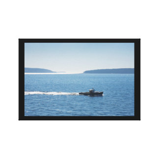 Lobster Boat And Islands Off Mount Desert Island Stretched Canvas Prints