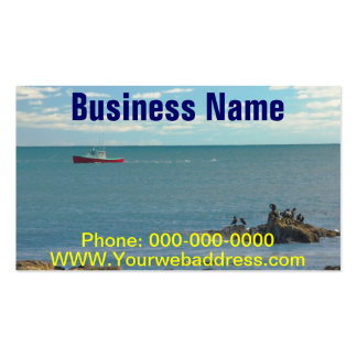 Lobster Boat Working off Rocky Seawall Beach Business Cards