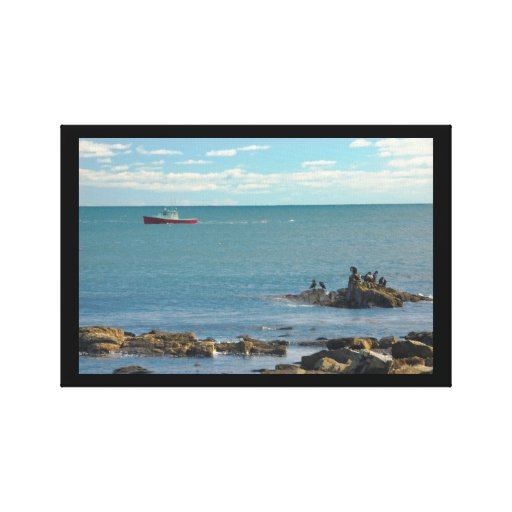 Lobster Boat Working off Rocky Seawall Beach Gallery Wrap Canvas
