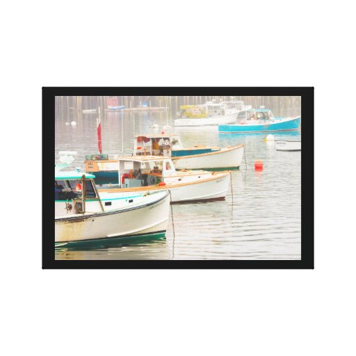 Lobster Boats In Bass Harbor, Mount Desert Island Stretched Canvas Prints