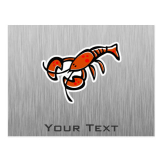 Lobster; Brushed metal-look Post Cards