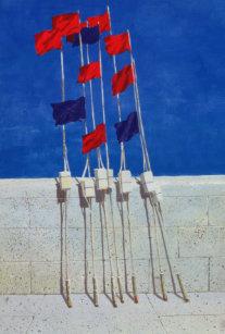 Buoy Marker Flag Fishing Wall Summer Flags Seaside Blue Sky