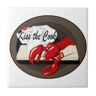 Lobster Chef Kiss the Cook Tile Trivet