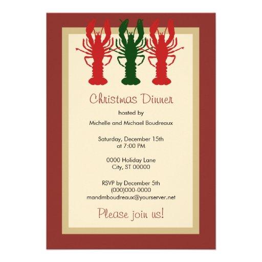 Lobster Christmas Dinner Custom Invitation