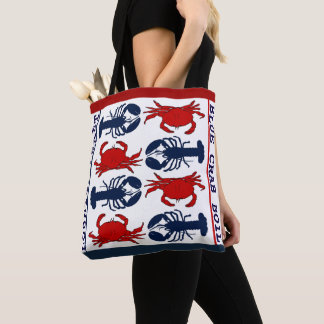 Lobster Crab Red White Blue Cloth Tote Bag