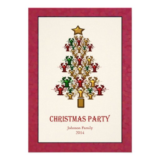 Lobster Crawfish Christmas Tree Party red white Announcements