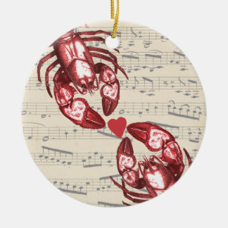 Lobster Love Musical notes with heart Round Ceramic Decoration
