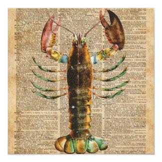 Lobster Mediterranean Sealife Vintage Artwork 13 Cm X 13 Cm Square Invitation Card