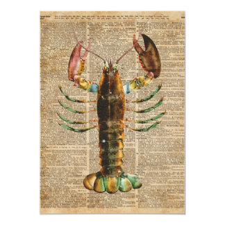 Lobster Mediterranean Sealife Vintage Artwork 13 Cm X 18 Cm Invitation Card