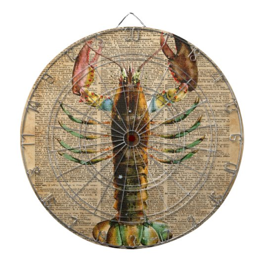Lobster Mediterranean Sealife Vintage Artwork Dart Board