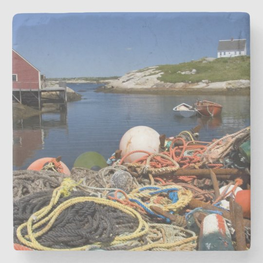 Lobster pots, buoys, and ropes on the dock