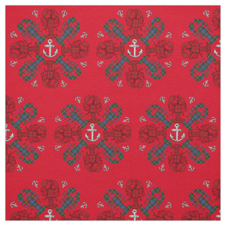 Lobster Snowflake Anchor N.S. Christmas fabric red