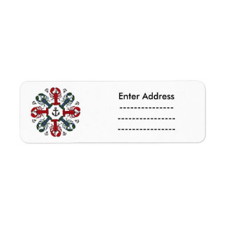 Lobster Snowflake Anchor N.S. Christmas label Return Address Label