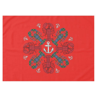 Lobster Snowflake Anchor N.S. Christmas red blue Tablecloth