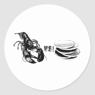 Lobster VS Pancakes Round Stickers