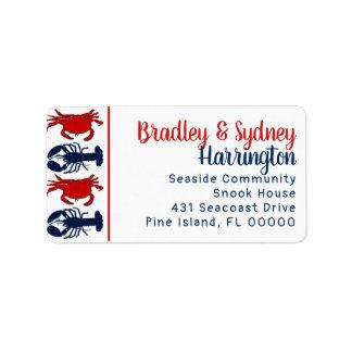 Lobsters Crabs Patriotic Large Address Label