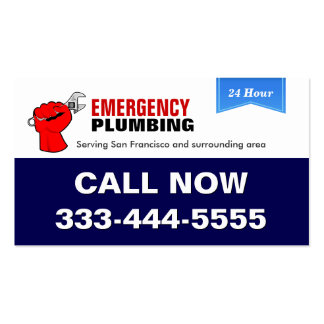 Local 24 Hour Emergency Plumbing Services Pack Of Standard Business Cards