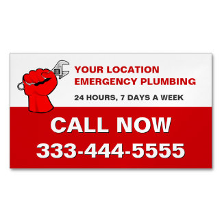 LOCAL EMERGENCY PLUMBERS & PLUMBING SERVICES MAGNETIC BUSINESS CARDS