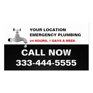 Local Emergency Urgent Rooter & Plumbing Services Pack Of Standard Business Cards