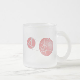 Local flatness explained with red and green apples frosted glass coffee mug