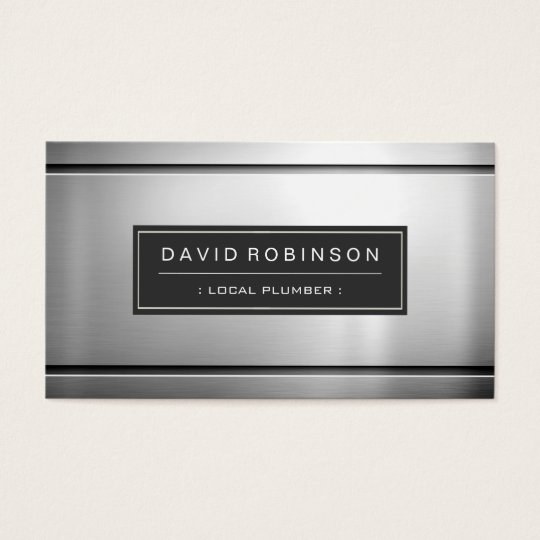 Local Plumber - Premium Silver Metal Business Card