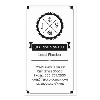 Local Plumber - Retro Nautical Monogram Pack Of Standard Business Cards