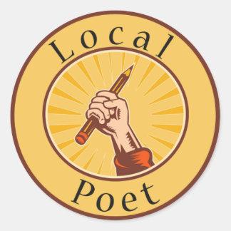 Local Poet Round Book Cover Sticker Round Sticker