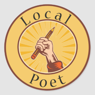 Local Poet Round Book Cover Sticker