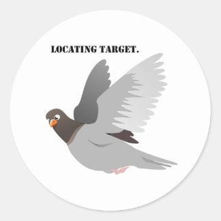 Locating Target Gray Pigeon Cartoon Round Sticker