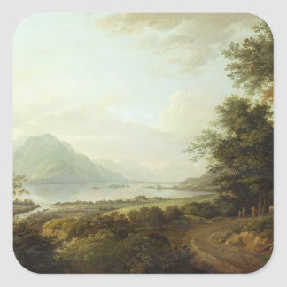 Loch Awe, Argyllshire, c.1780-1800 (oil on canvas) Square Sticker