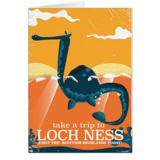 Loch ness cartoon travel poster print. card