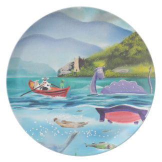 Loch Ness monster underwater painting G BRUCE Dinner Plates