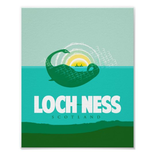 Loch Ness, Scotland travel poster