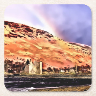Lochranza Castle & Rainbow Square Coasters
