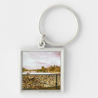 Lock Bridge in Paris Silver-Colored Square Key Ring