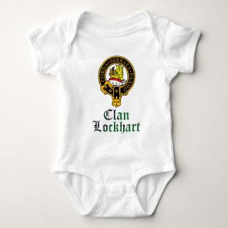 Lockhart scottish crest and tartan clan name baby bodysuit