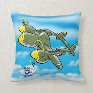 Lockheed P-38 Lightning Throw Pillow