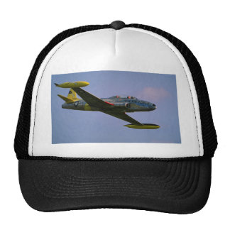 Lockheed T-33 Silverstar in flight at Duxford, Cam Mesh Hat