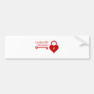 Locksmith Wanted Valentine's Day Heart Lock Bumper Sticker