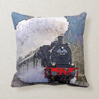 Locomotive 2. Steam in the Snow. Throw Pillow
