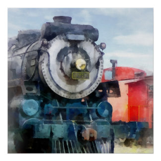 Locomotive and Caboose Poster