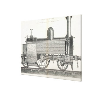 Locomotive Engine engraved by J W Lowry Stretched Canvas Print