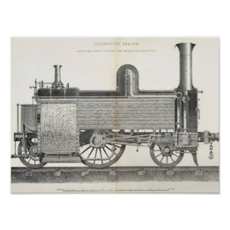Locomotive Engine, engraved by J.W. Lowry Poster