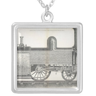 Locomotive Engine, engraved by J.W. Lowry Silver Plated Necklace