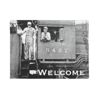 Locomotive Engineer and Conductor Vintage Railroad Doormat