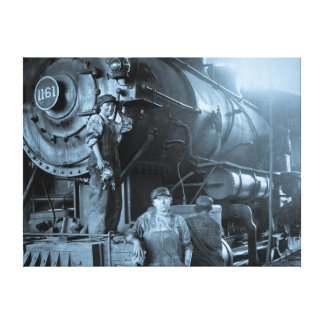Locomotive Ladies Roundhouse Rosies of World War I Stretched Canvas Print