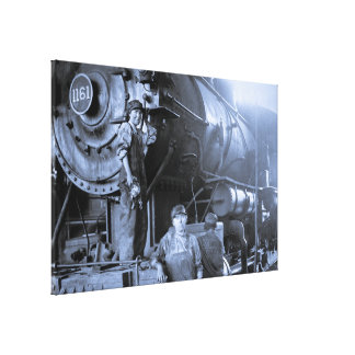 Locomotive Ladies Roundhouse Rosies of World War I Stretched Canvas Prints