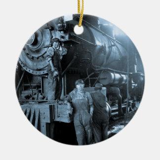 Locomotive Ladies Roundhouse Rosies World War I Round Ceramic Decoration