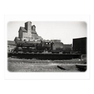 Locomotive Steam Engine on Turntable Vintage Postcard
