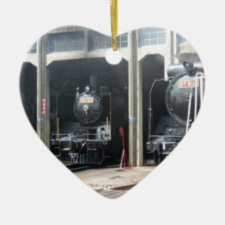 Locomotives at Changhua Roundhouse, Taiwan Christmas Ornament